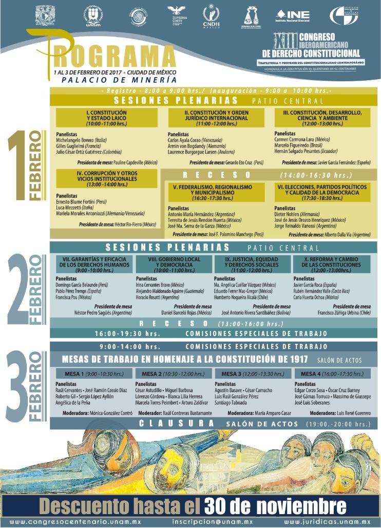 """XIII Congreso Iberoamericano de Derecho Constitucional: """"Trayectoria y porvenir del constitucionalismo contemporáneo. Homenaje a la Constitución de Querétaro en su centenario"""""""