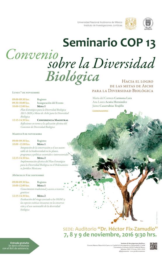 """Seminario """"COP 13 Convenio sobre la Diversidad Biológica. Hacia el logro de las metas de Aichi para la Diversidad Biológica"""""""