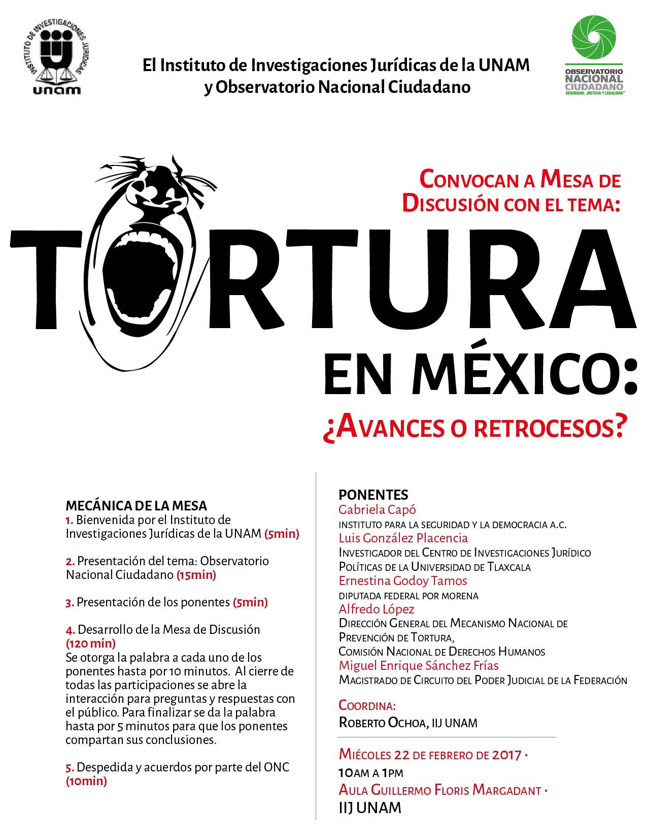 """Mesa de Discusión: """"Tortura en México: ¿Avances o retrocesos?"""""""