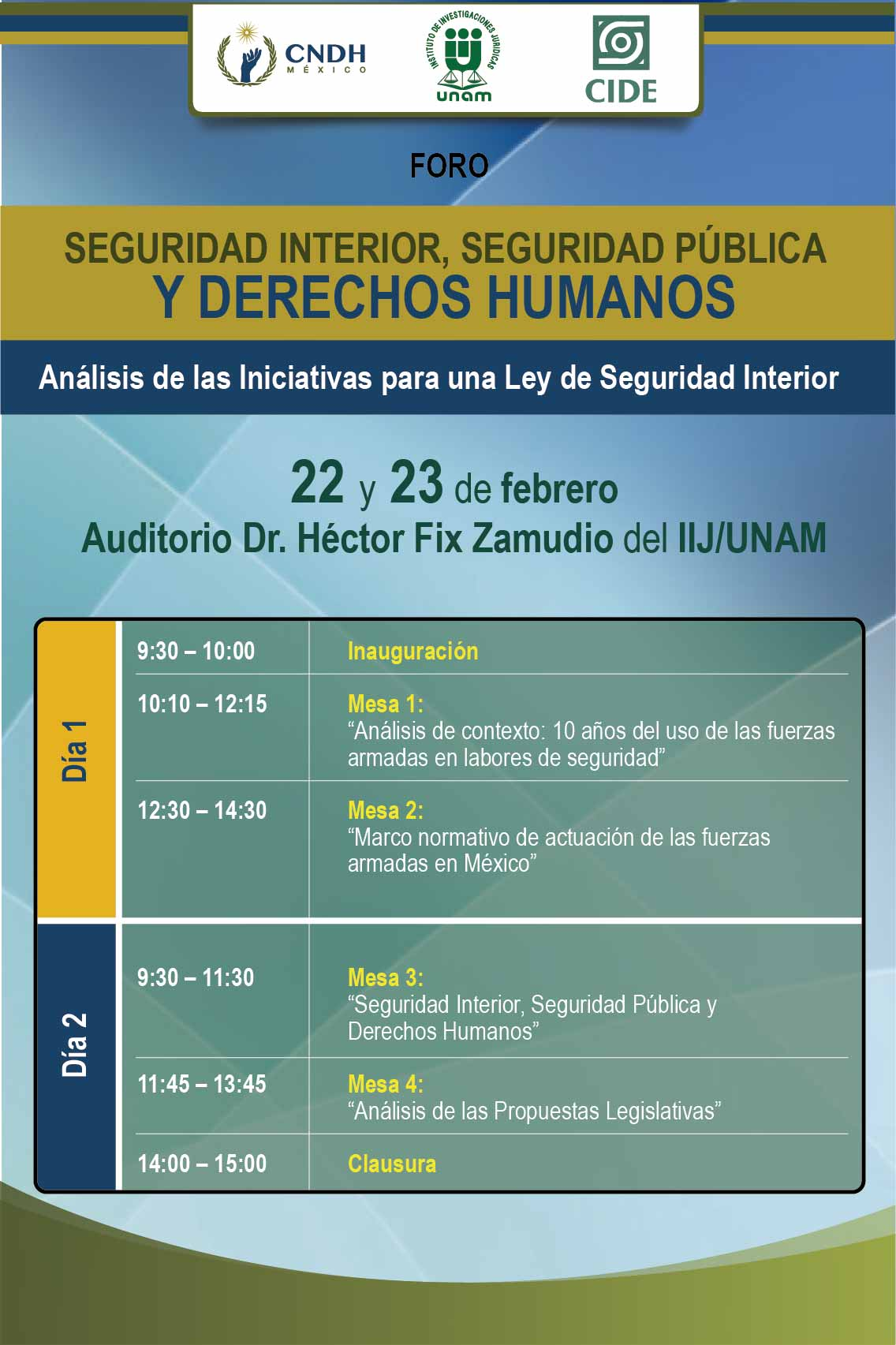 Foro en seguridad interior, seguridad pública y derechos humanos: Análisis de las iniciativas de ley de seguridad interior.