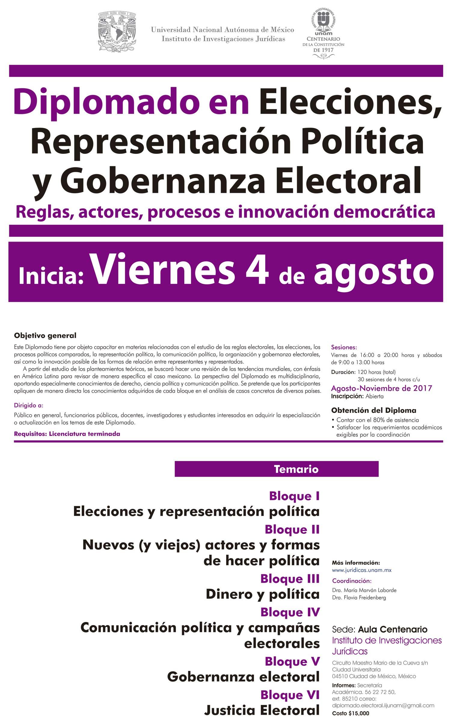 Elecciones,  representación política y  gobernanza electoral.  Reglas, actores, procesos e innovación democrática